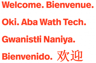 Welcome text in a variety of languages.