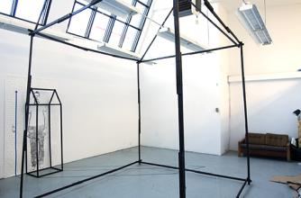 Carbon footprint frame in the studio at Banff Centre, from artist Jordan Schwab
