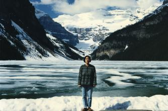 "Jin Me Yoon, ""Souvenirs of the Self (Lake Louise 91/96)"" (1996). 72 x 92.5 cm, transmounted C-Print. Collection of Walter Phillips Gallery, The Banff Centre"