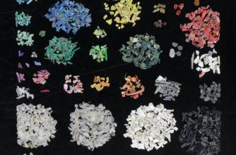 Photograph of various pieces of micro- and macro- plastic pollution from beach samples are spread out evenly over a smooth semi reflective surface