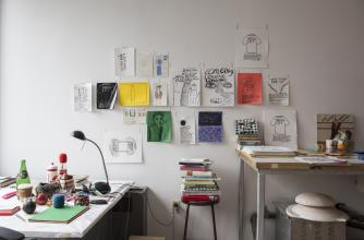 Hazel Meyer's studio in Visual + Digital Arts at Banff Centre.