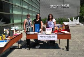 Library staff at the pop-up library