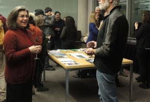 Curator Susan Sax-Willock in conversation at the reception