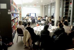 Participants listening to the Eva Pryzbyla's artist's talk