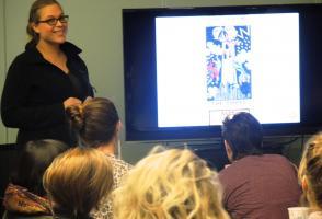 Eva Pryzbyla presenting her work to the workshop participants