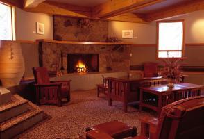 Professional Development Centre, fire place lounge, The Banff Centre, Alberta, Canada