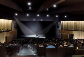A photoshopped rendering of the new Belzberg theatre in Banff.