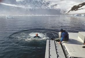 Birthday polar plunge, Antarctica. Photo courtesy of Corrie Wedel.