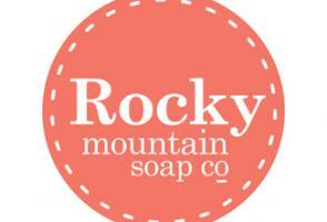 Pink circular logo for Rocky Mountain Soap Company
