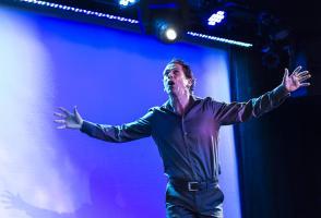 Man performing at the midsummer ball fundraising event at Banff Centre.