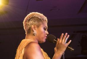 Female singer/ performer live at MidsummerBall event hosted by Banff Centre.