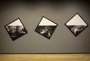 Installation view of Caroline Monnet's Semaphore I, II, III (2018), courtesy the artist. Walter Phillips Gallery, Banff Centre for Arts and Creativity. Photo by: Rita Taylor