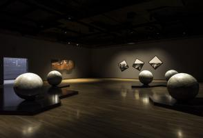 Installation view of Caroline Monnet's Like ships in the night (2018), courtesy the artist. Walter Phillips Gallery, Banff Centre for Arts and Creativity. Photo by: Rita Taylor