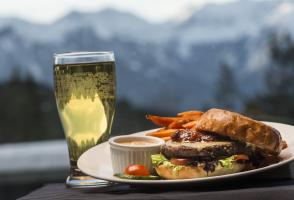Maclab Bistro meal - burger with side of sweet potato fries, and crisp, cold beverage