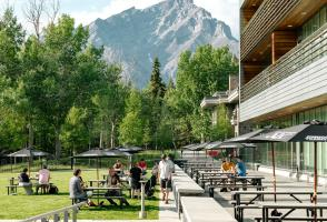 Maclab Bistro's patio area with mountain views