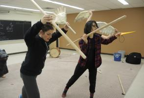 Two puppeteers in rehearsal