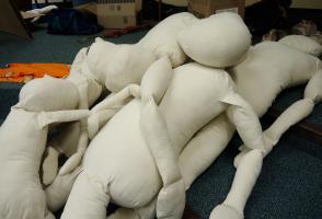 A pile of stuffed dummies