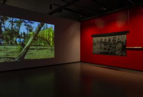 An image is projected on a wall on the left side of the room and a tapestry is hanging in front of a red wall on the right side of the room.