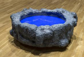 """Joo Choon, Lin, """"I Only Make Friends With Money"""" (2013, remade in 2014). Synthetic goo, wood, cement. 120cm x 35cm x approx. Walter Phillips Gallery, The Banff Centre. Photograph by Rita Taylor."""