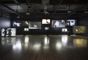 """Guy Maddin, installation view of """"Hauntings I"""" (2010). Walter Phillips Gallery, The Banff Centre. Photo by Rita Taylor."""