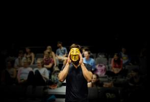 A student works with an Emotion Mask in a Wonderheads mask performance workshop in Pittsburgh, PA. Photo by Ben Filio.