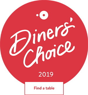 Badge for diners choice award.