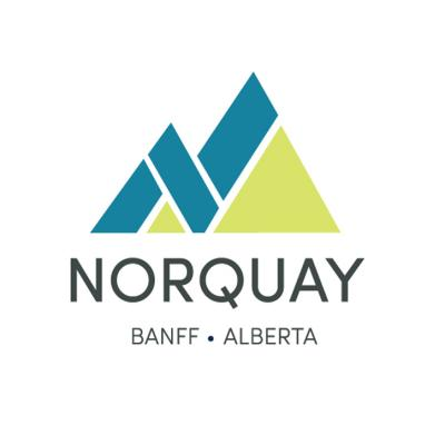 Blue and Green Logo for Mt Norquay in Banff Alberta.